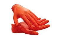 GRIPSTER Nitrile Disposal Gloves, orange, powder-free Size: L